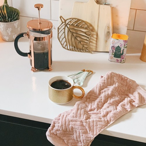 coffee cup kitchen cafetiere tea towel