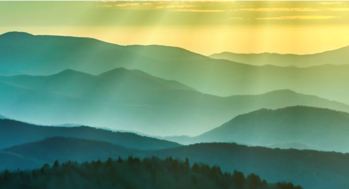 Layers of mountains within the Great Smoky Mountains National Park