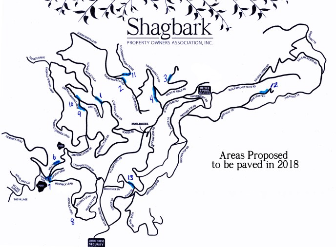 Shagbark Road Paving Proposed for 2018 at 2017 Annual Meeting