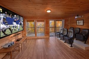 Big Pine Lodge is a six bedroom cabin in Pigeon Forge located in Shagbark, a gated community. The cabin features a theater room, large lower level game room, private and secluded location, and six bedrooms