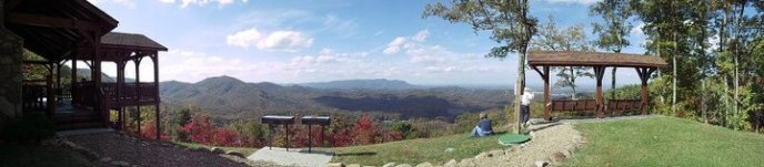 Sweeping panoramic views from the common area pavilion at The Enclave at Cove Mountain in Gatlinburg
