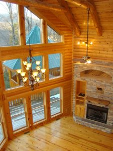 Luvin Logs Lodge is a three bedroom luxury cabin rental in Wears Valley with massive logs, a Mountain View, and quality throughout