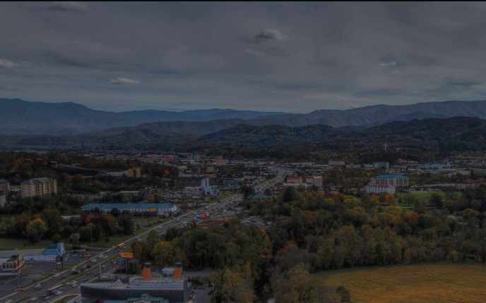 Aerial View of Pigeon Forge and the Parkway