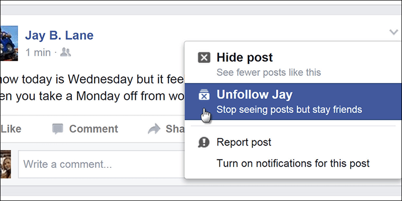 Image result for unfollow facebook