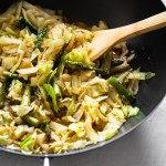 stir fried cabbage and asparagus