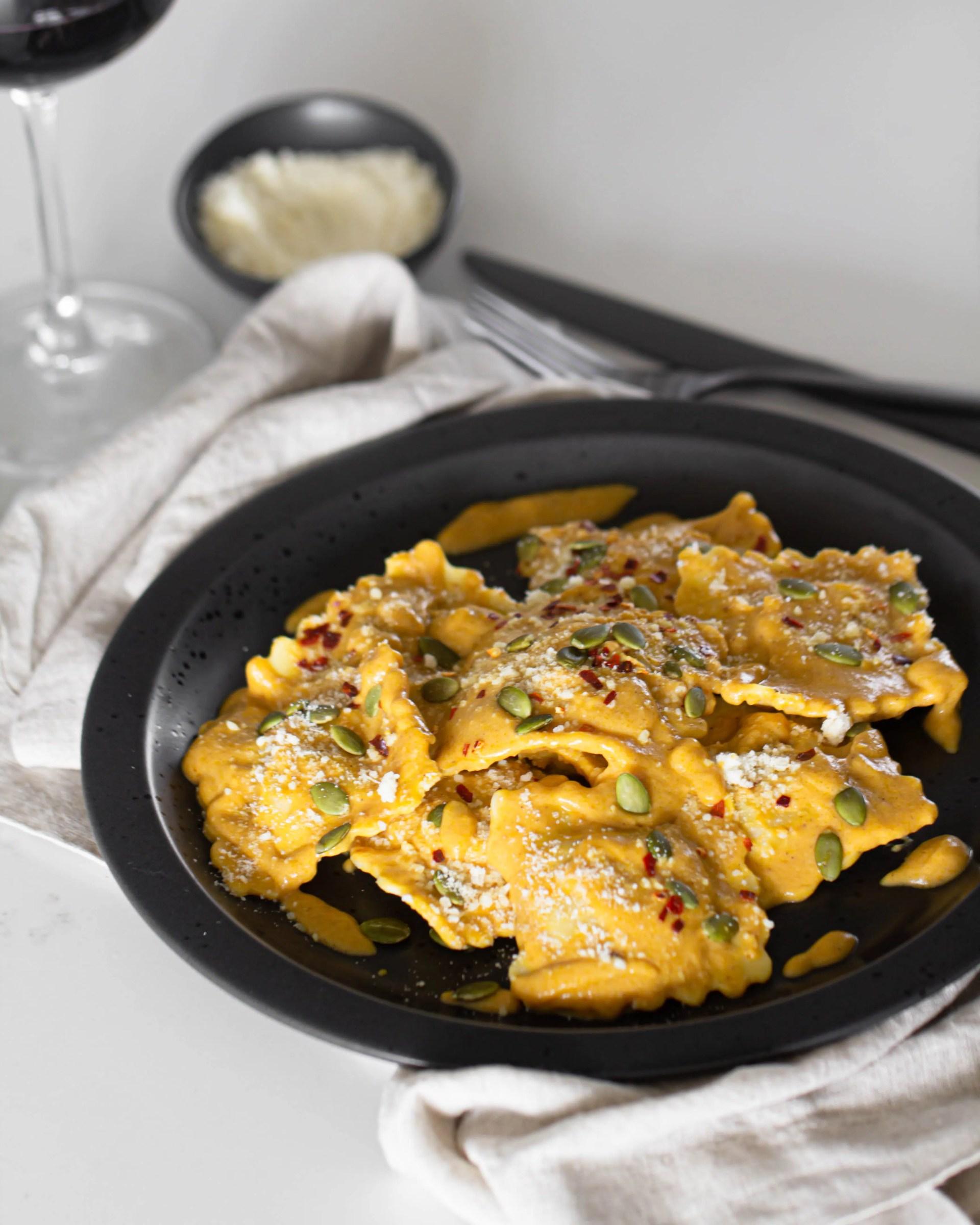 Cheese Ravioli in Pumpkin Alfredo