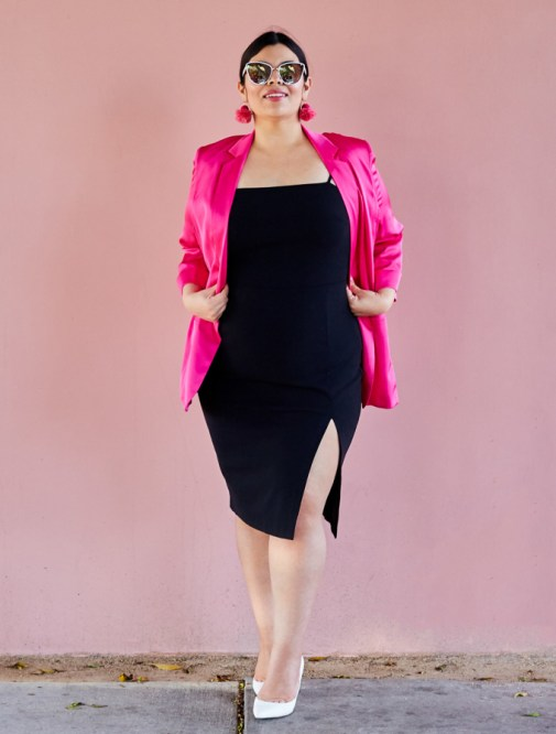 Black sheath dress with slit, pink blazer, express extended sizes