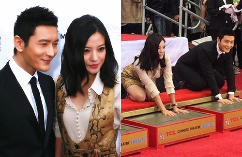 Vicki Zhao and Huang Xiaoming Leave Handprints in Hollywood