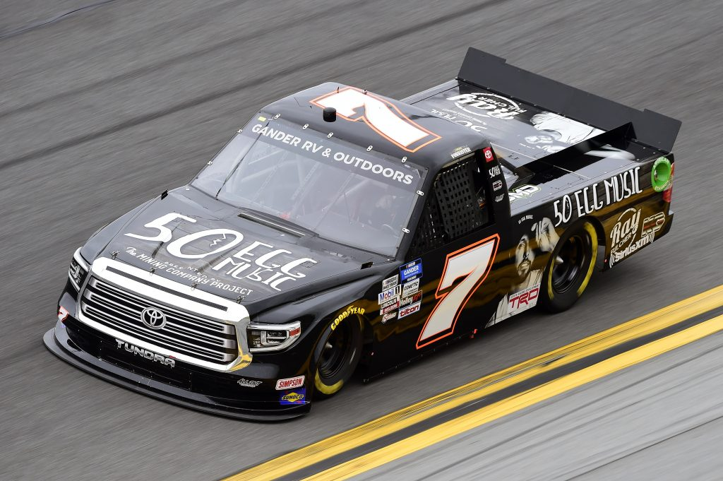 DAYTONA BEACH, FLORIDA - FEBRUARY 14: Korbin Forrister, driver of the #7 50 Egg Music Toyota, qualifies for the NASCAR Gander RV & Outdoors Truck Series NextEra Energy 250 at Daytona International Speedway on February 14, 2020 in Daytona Beach, Florida. (Photo by Jared C. Tilton/Getty Images) | Getty Images