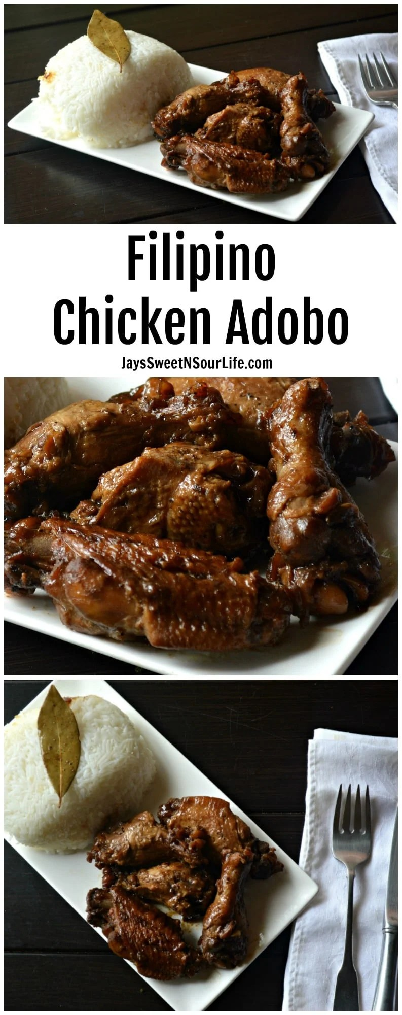 Finger licking good Filipino Chicken Adobo the way my Tita Jho made it. This Filipino style chickane adobo is a famous family recipe thats perfect for potlucks and dinner with the family.
