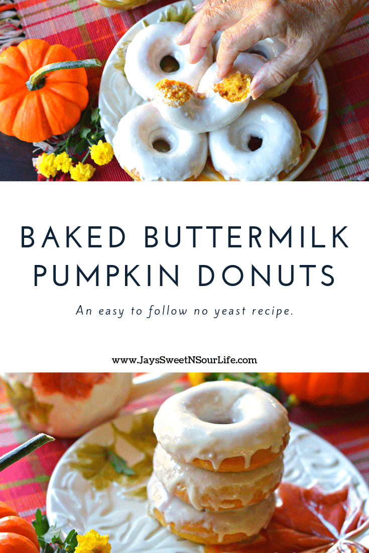 Baked Buttermilk Pumpkin Donuts Recipe. Calling all pumpkin lovers! Try my moist Baked Buttermilk Pumpkin Donut Recipe. Frosted with Cream cheese and baked to perfection. A No Yeast Recipe.