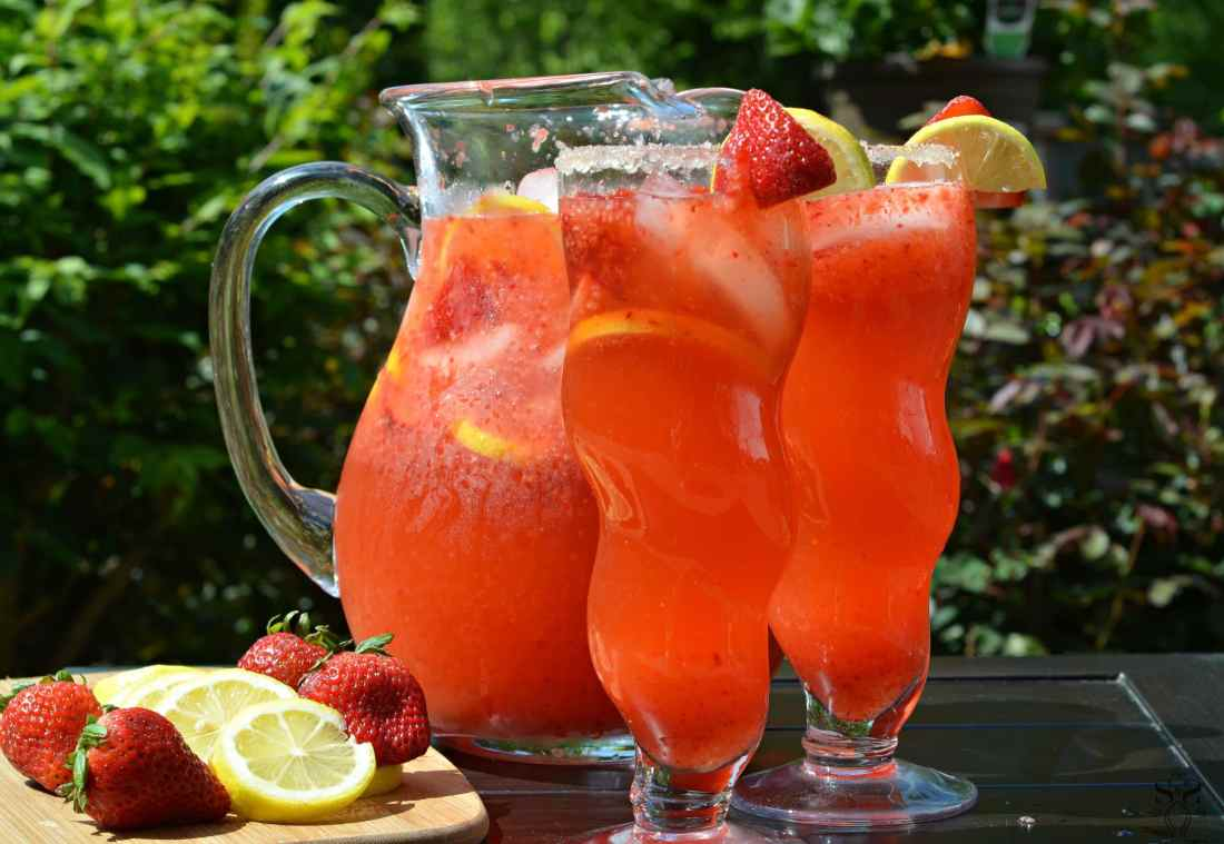 Strawberry Lemonade Drinks. Enjoy a fresh squeezed cup of Strawberry Lemonade on a warm sunny day, it's the perfect deliciously refreshing way to cool off.