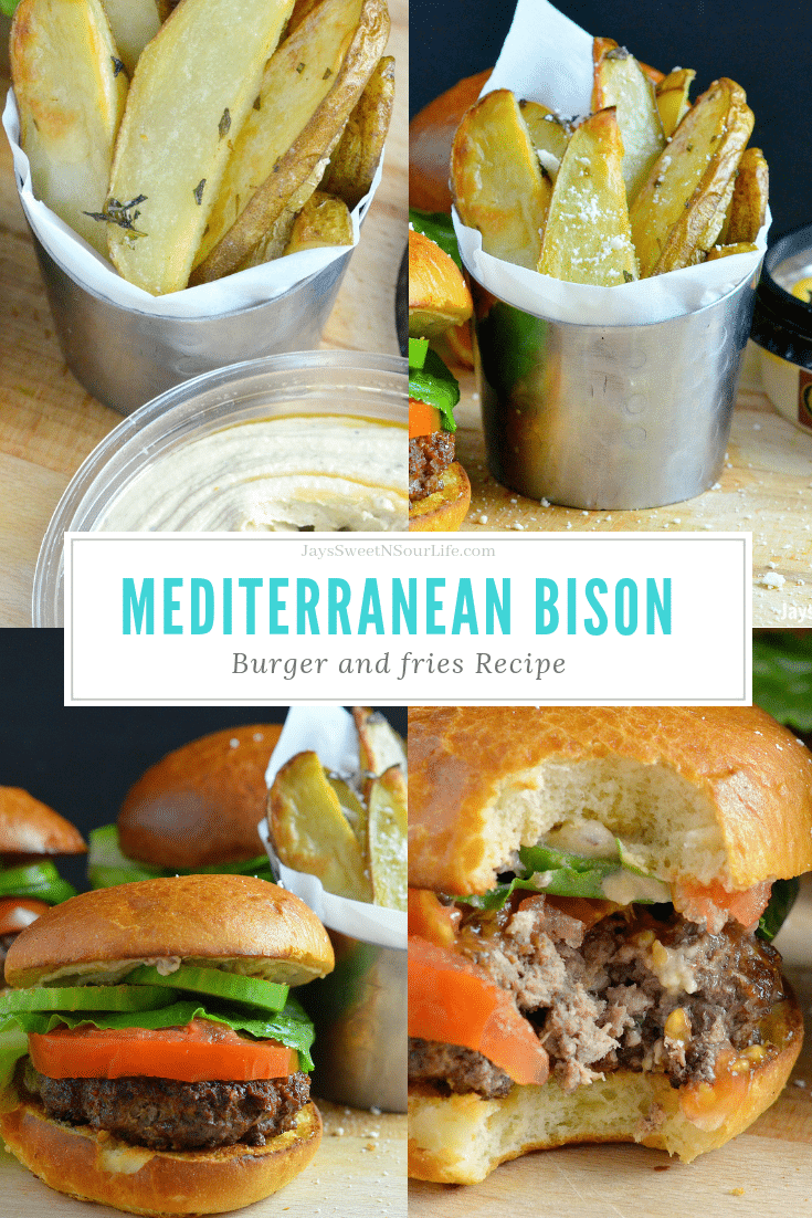 Mediterranean Bison Burger and Fries. Deck the halls and your home with the smell of delicious fresh made Mediterranean Bison Burger and fries using Boar's Hummus as a spread.