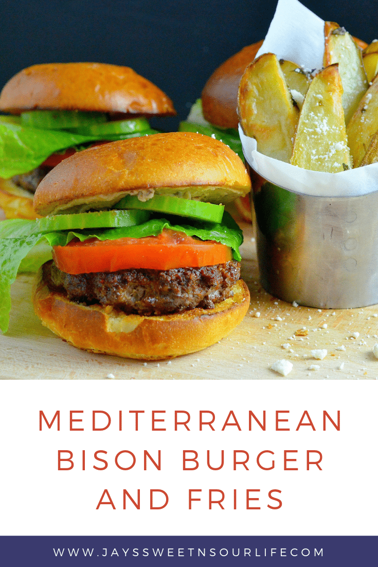 Try this mouth watering Mediterranean Bison Burger and Fries Recipe. Deck the halls and your home with the smell of delicious fresh made Mediterranean Bison Burger and fries using Boar's Hummus as a spread.