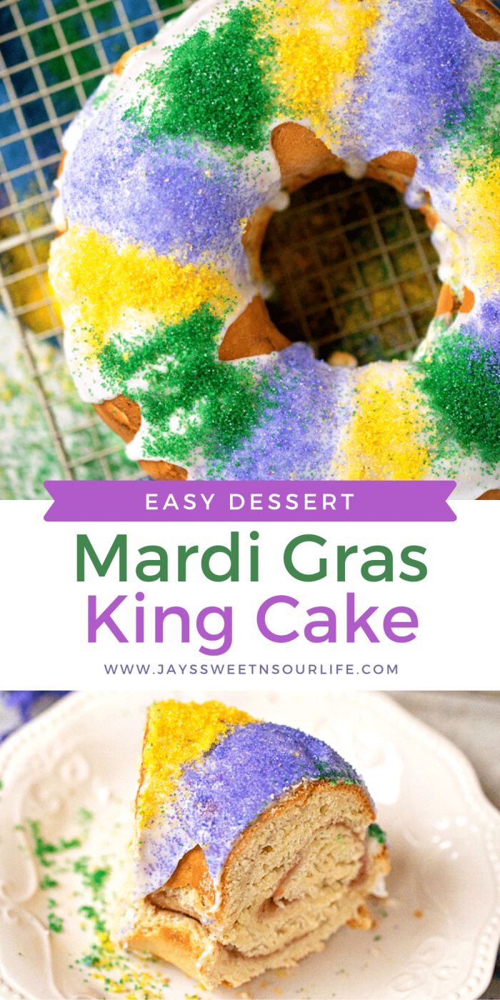 Celebrate Mardi Gras with this homemade Mardi Gras King Cake! A fun twist on the traditional King Cake, it's filled with a homemade strawberry filling. Bake and share this easy Strawberry Filled King Cake with your family.