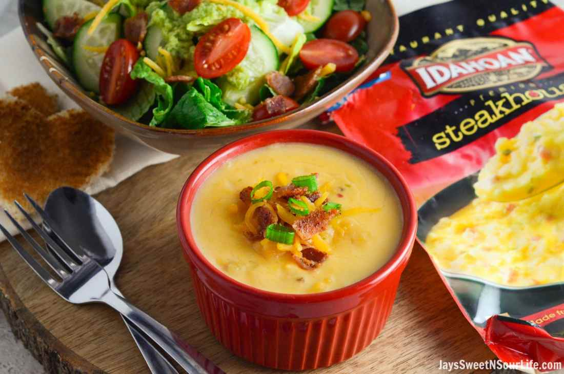 The new Idahoan® Steakhouse® Loaded Potato Soup goes perfectly with my easy to make side salad with Avocado Viniagrette Dressing.