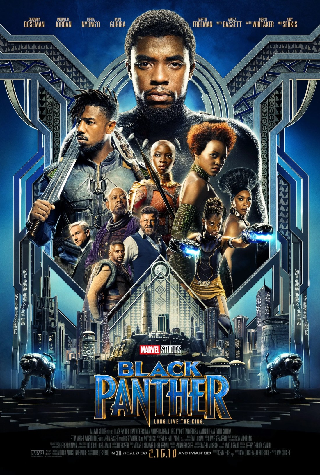 Black Panther Movie Poster for one of Marvel Studios Newest films. Hits theaters Febuary 16th, 2018.