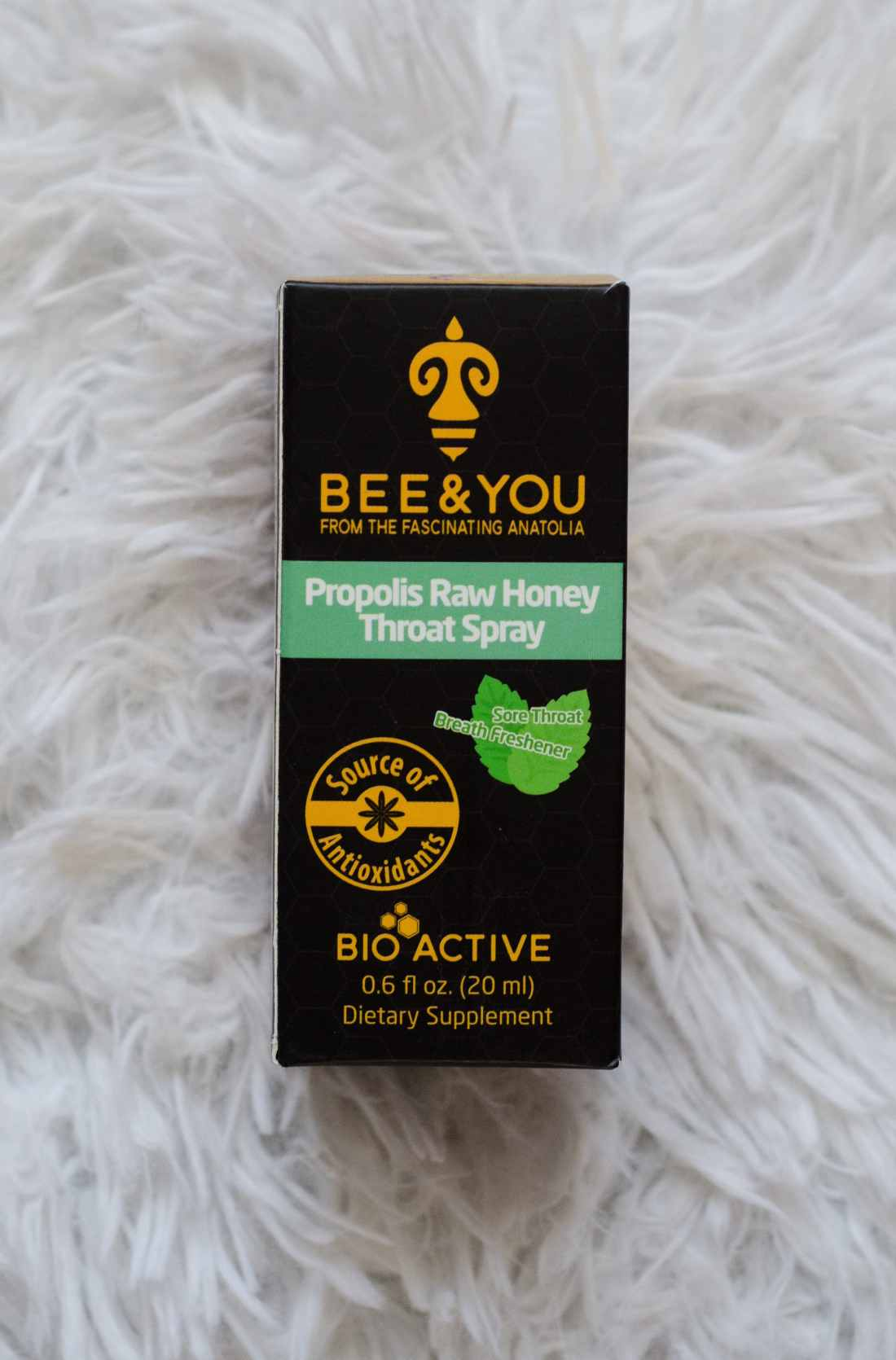 Winter Game Necessaties with BabbleBoxx Bee & You Propolis Raw Honey Throat Spray. BEE & YOU is an award winning line of bee products.