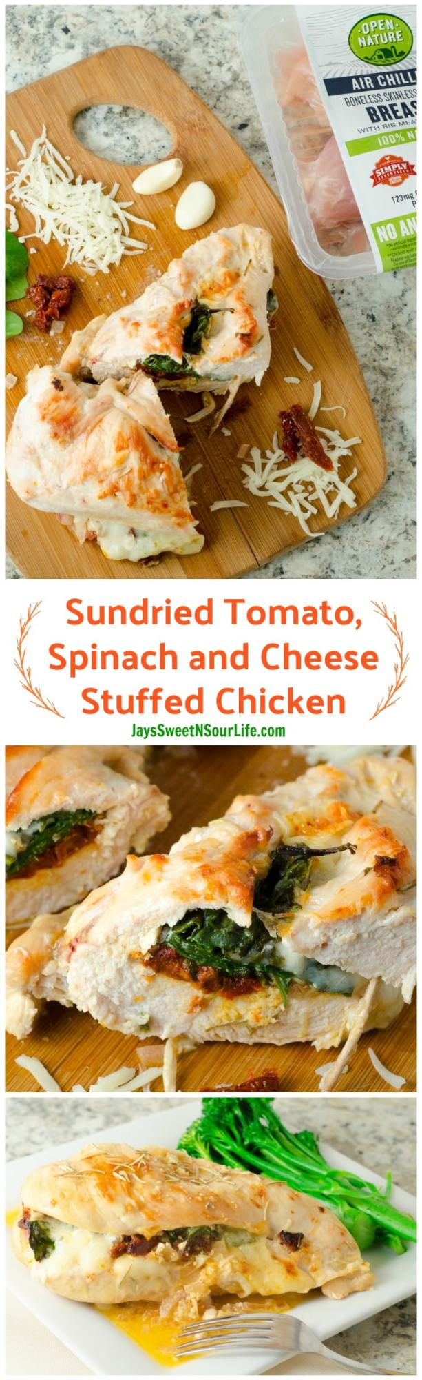 undried Tomato, Spinach and Cheese Stuffed Chicken is the perfect dinner entree. Pin this photo on Pinterest to save for a later date.