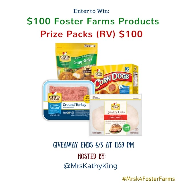 Enter to win in our $100 Foster Farms Gift Pack Giveaway. The competition ends April 3rd so make sure you get your entries in today.