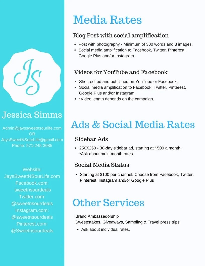 Jays Sweet N Sour Life Media Kit services sheet. A summary of the services Jay offers.