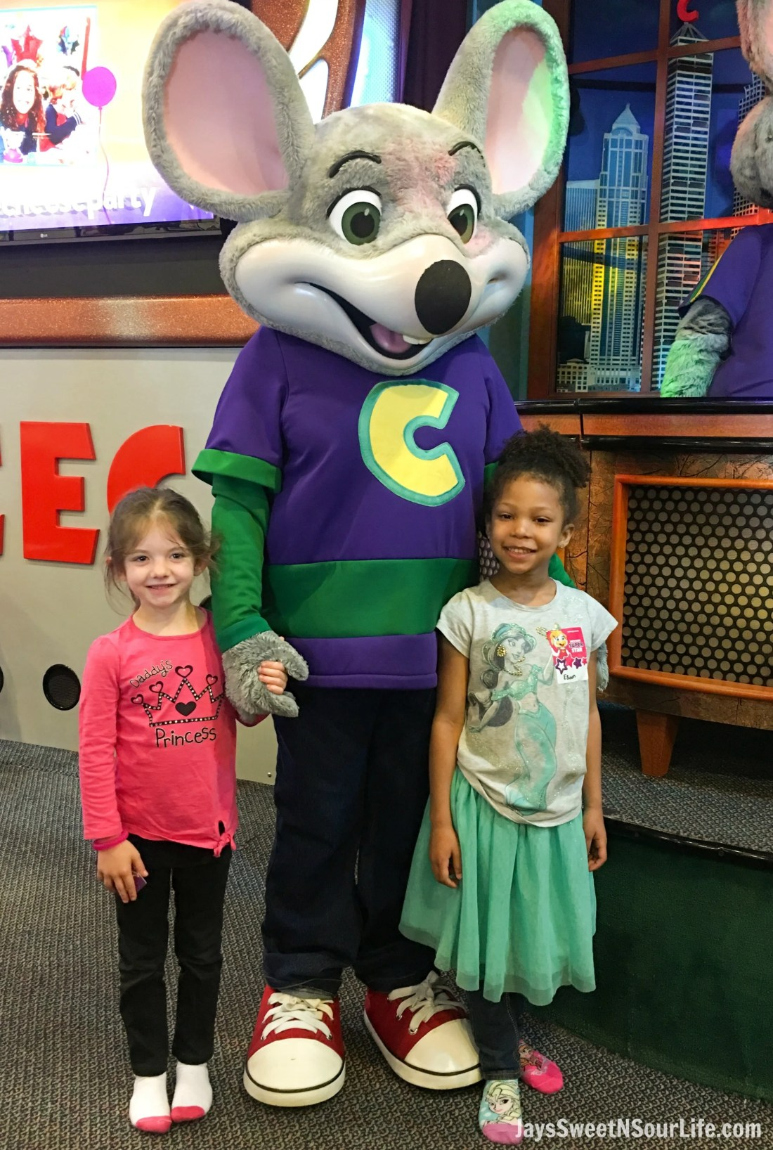 Chuck e cheeses VIP birthday party little girls with Chuck E. Character. Book your party today and have guests enjoy 2 hours of unlimited game play.