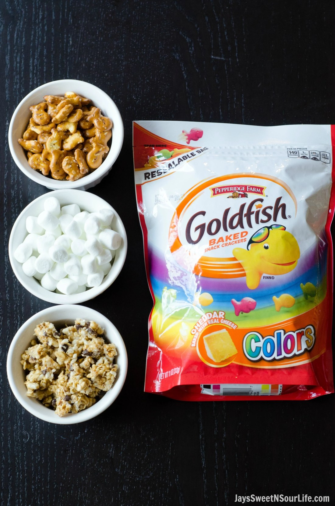 Creating the Goldfish Trail Mix is as easy as combing these 4 ingredients together. Mix them up and take your Goldfish Trail Mix on the go.
