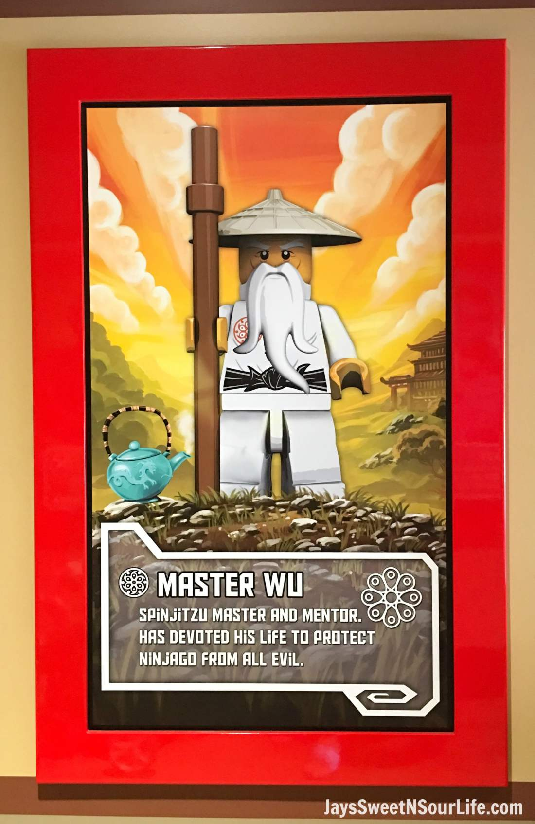 Legoland Florida Poster of Master Wu in the Ninjago World Ride. Spend your summer building memories at Legoland in Florida. There is something for the whole family to enjoy at this wonderful Theme Park.