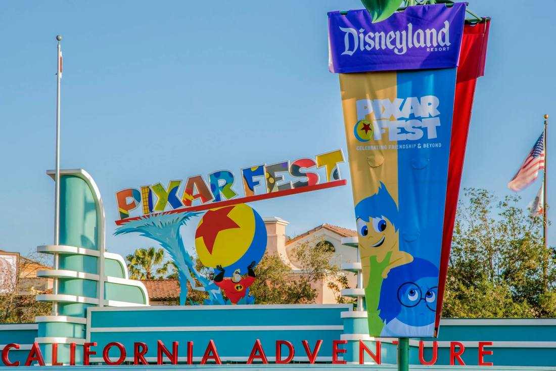 Pixar Fest at Disneyland display infront of Adventure Park entrance. Pixar Fest features many new shows, parades and foods for all guests to enjoy.