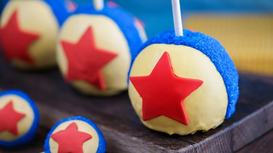 The Pixar Fest Luxo Ball Cake Pop from Disneyland. Available now during Pixarfest in the park.