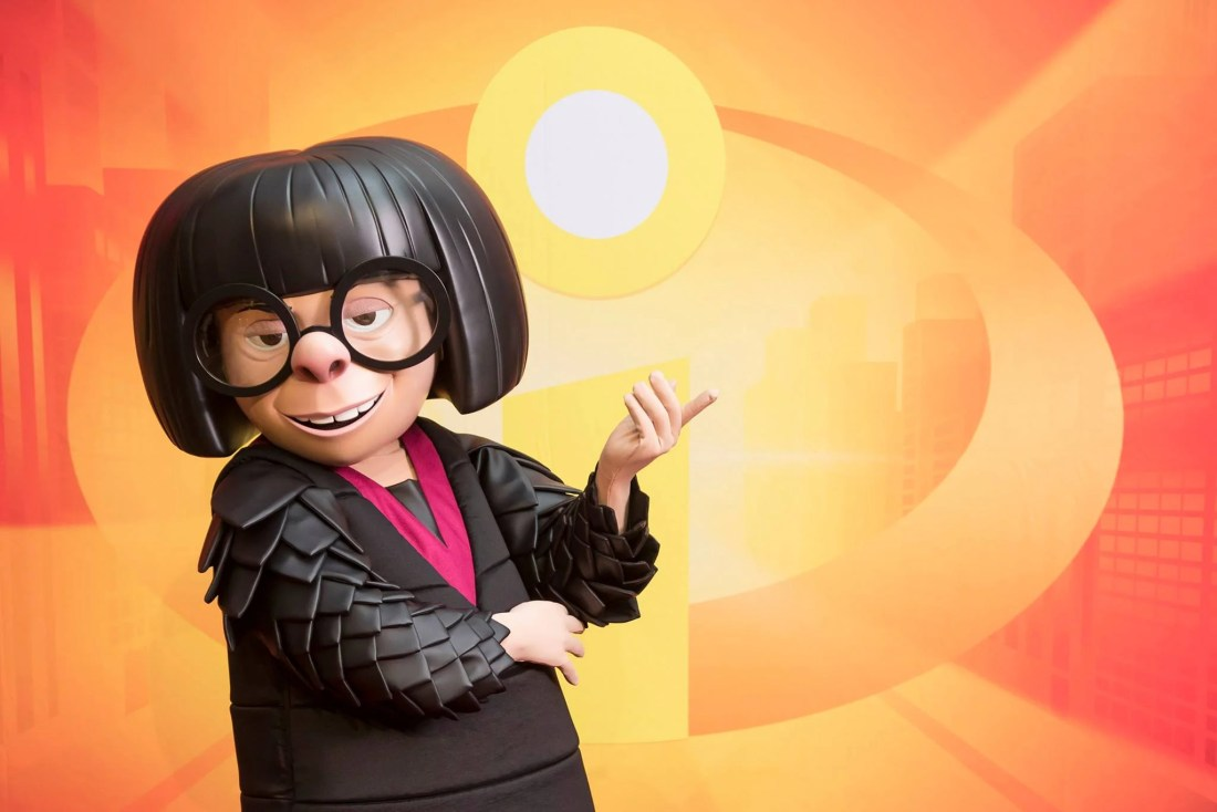 Edna Mode from Disney PIxars Incredibles at Disneyland. During Pixar Fest you can catch all of your favorite Pixar Characters throughout the park.