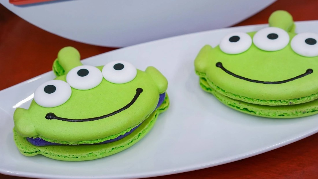 Alien Macaroons from Alien Pizza Planet at Disneyland. Pixar Fest offers exclusive foods for guests to enjoy.