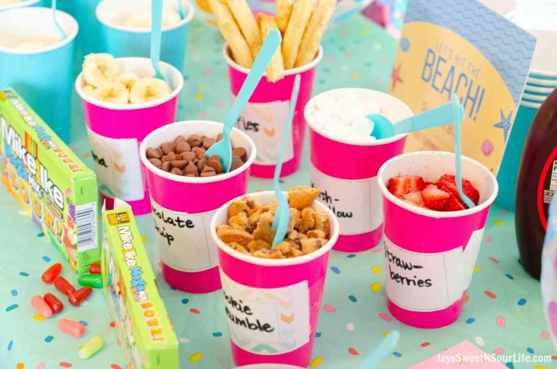 Create your very own Beach Sundae Party Table spread. Include your childrens favorite candy toppings including the new Mike and Ike MegaMix Sour Candy's found in your local Walmart.