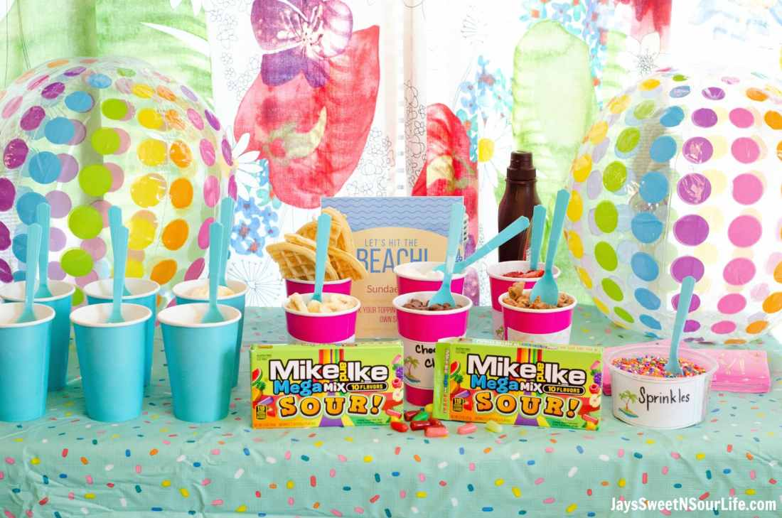 Create your very own Beach Sundae Party Table spread. Include your childrens favorite candy toppings including the new Mike and Ike MegaMix Sour Candy.
