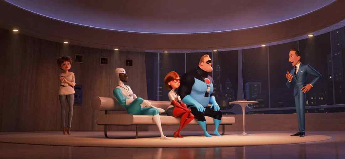"""In """"Incredibles 2,"""" savvy siblings and business partners Evelyn and Winston Deavor summon Frozone, Elastigirl and Mr. Incredible to share a plan designed to ultimately make Supers legal again. Disney•Pixar's """"Incredibles 2"""" busts into theaters on June 15, 2018. ©2018 Disney•Pixar. All Rights Reserved."""