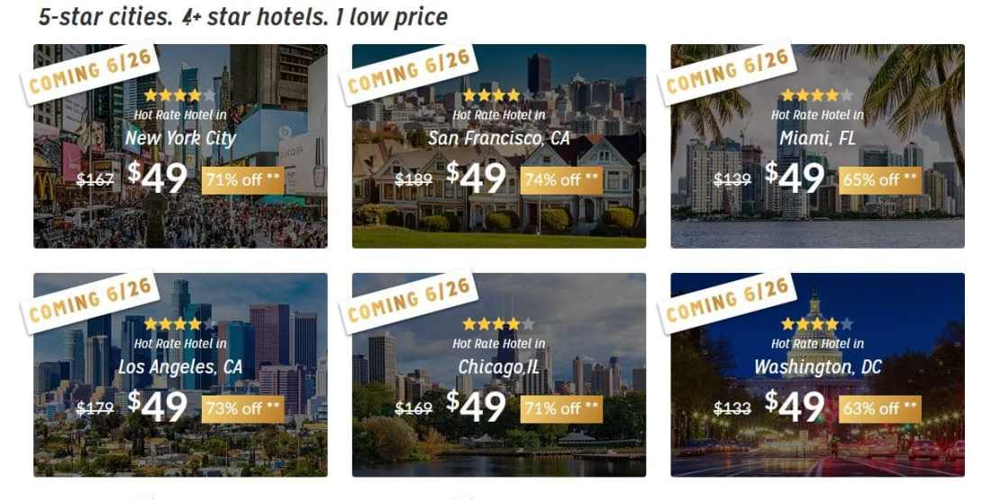 Hotwire $49 Promotion Screen Shot. Hotwire is offering luxury 4 and 5-star hotels for just $49 is truly an incredible deal which won't last long, so travelers need to act fast to feel the Hotwire Effect.