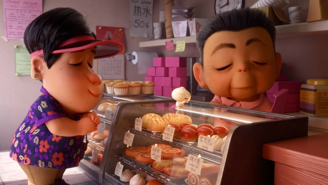 "In Disney•Pixar's all-new short ""Bao,"" director Domee Shi explores parenthood, empty-nest syndrome and food—lots of food. When an aging Chinese mom crafts a dumpling that springs to life as a lively, giggly dumpling boy, Mom happily jumps at a second chance at motherhood. But Mom's newfound happiness is short-lived when her precious dumpling insists on growing up."