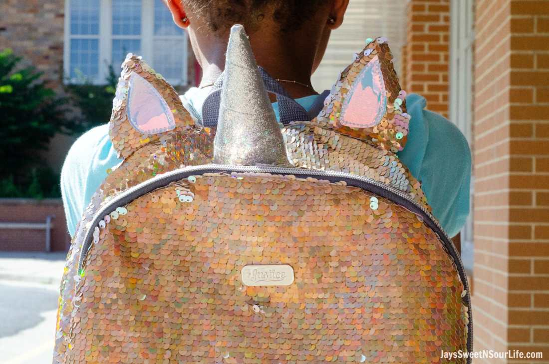 Justice Back To School Unicorn Backpack closeup.Back To School Must Have Fashion For Tweens via JaysSweetNSourLife.com