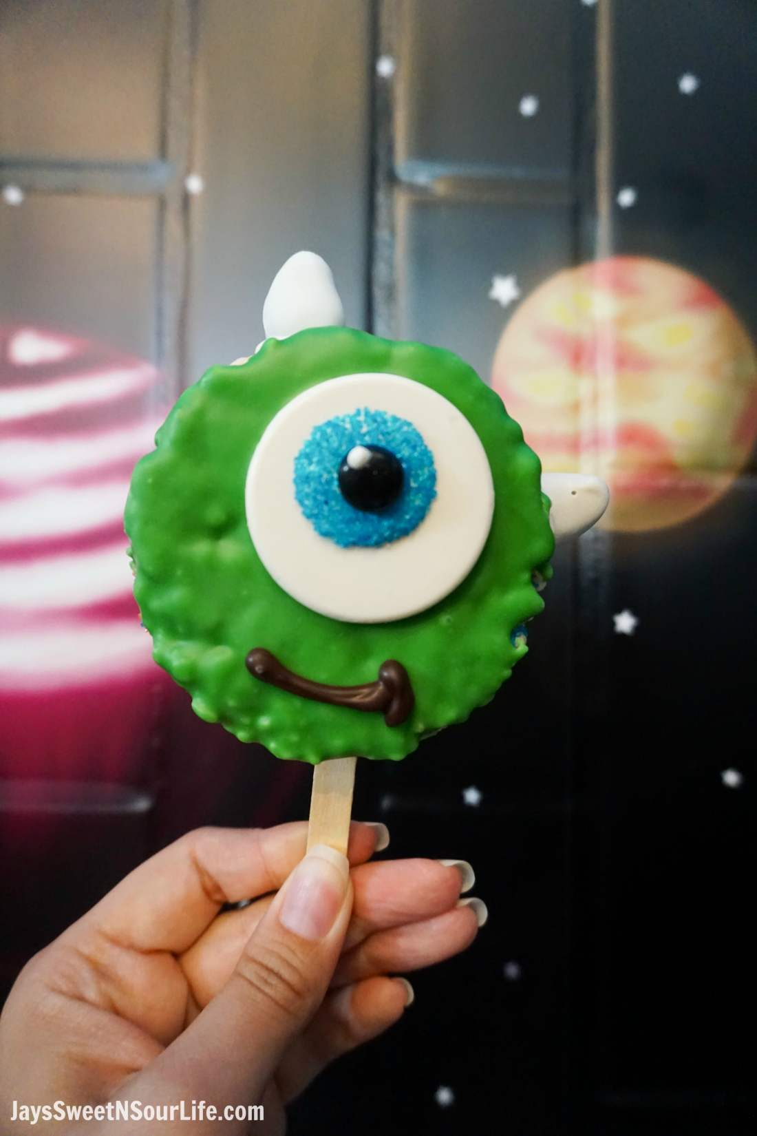 Pixar Fest Mike Wizowski Crisped Rice Treats. Pixar Fest at Disneyland runs from April 13 through September 3rd.