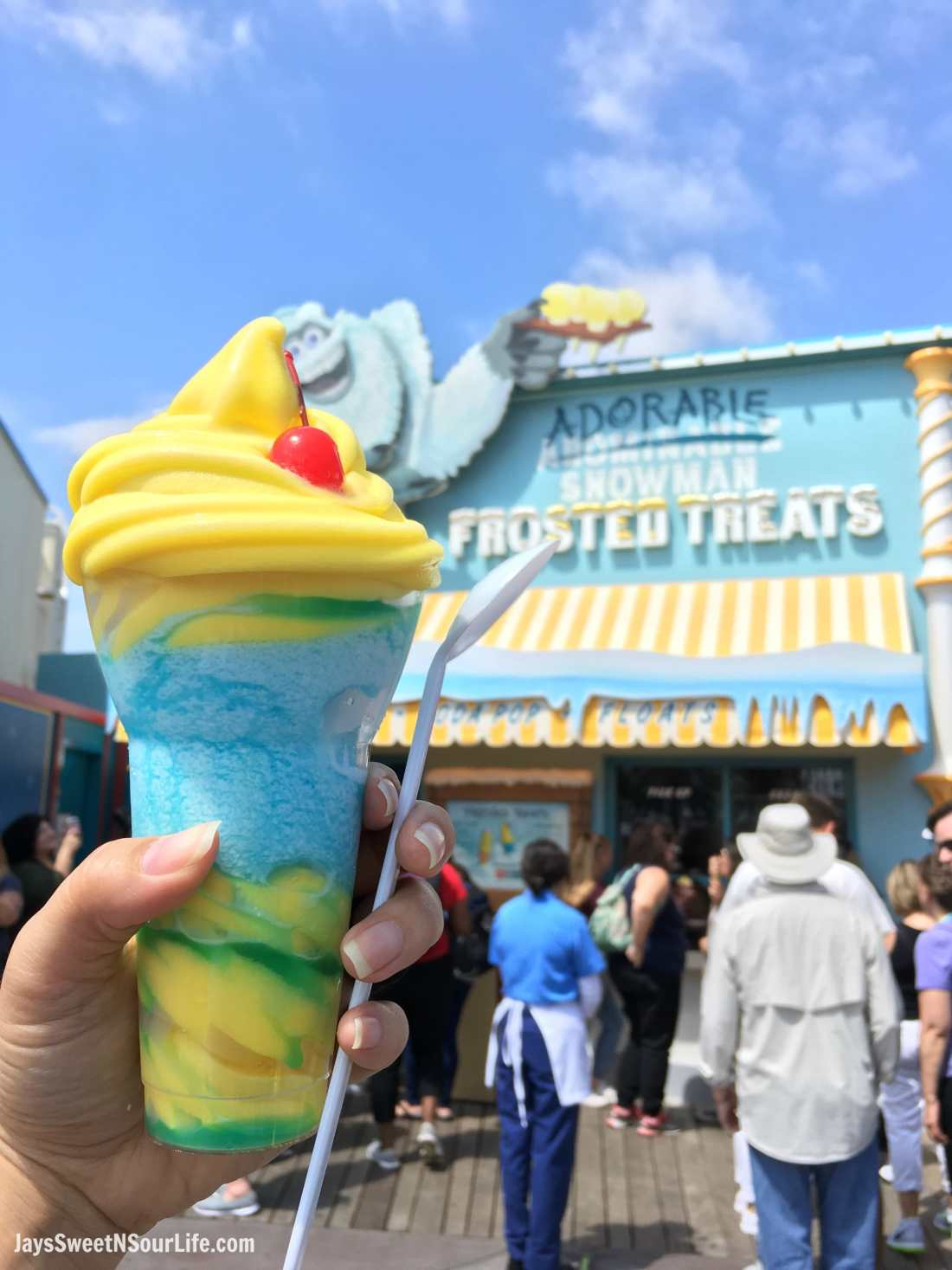 Pixar Pier Frosty Parfait at the Adorable Snowman Sweet Treats. Pixar Fest at Disneyland runs from April 13 through September 3rd.