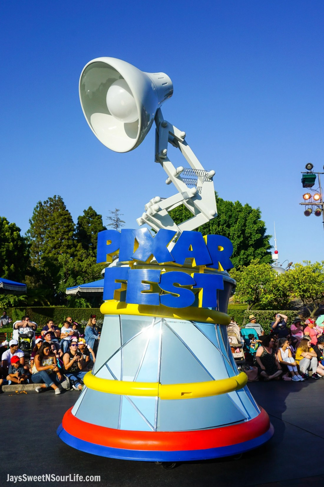 Pixar Play Parade at Disneyland Pixar Fest Float. Pixar Fest at Disneyland runs from April 13 through September 3rd.