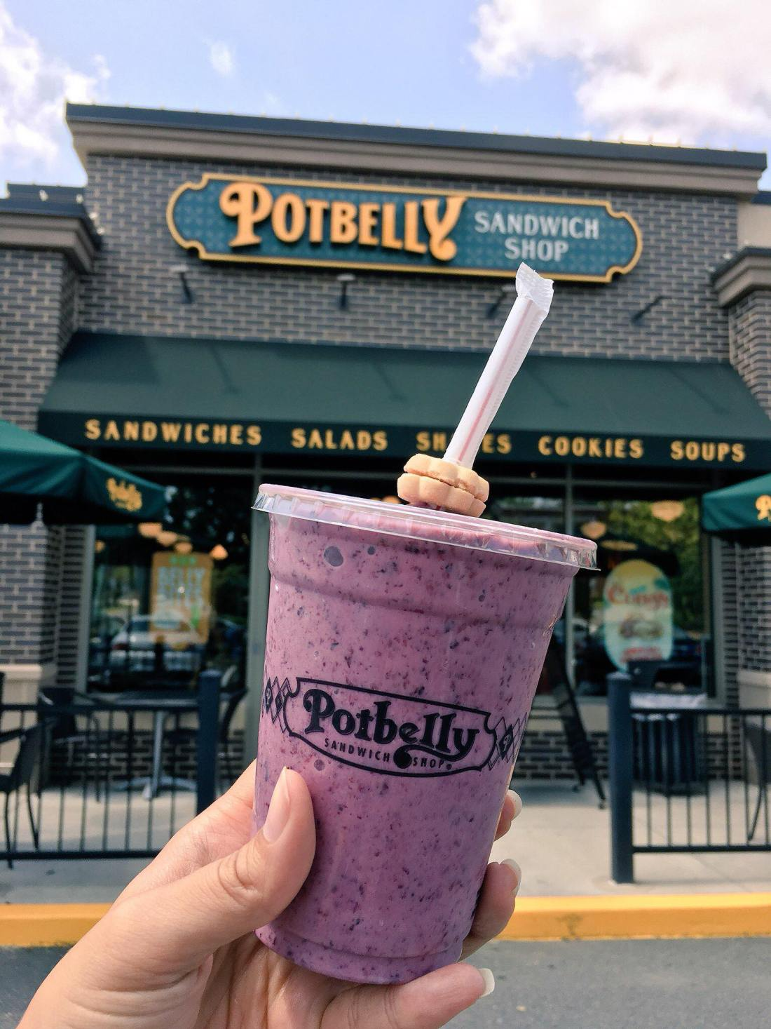 """Free Shake Friday at Potbelly Mixed Berry Smoothie. July 27th is Free Shake Friday at Potbelly, claim your free shake or smoothie with any purchase by just saying """"it's free shake friday""""."""