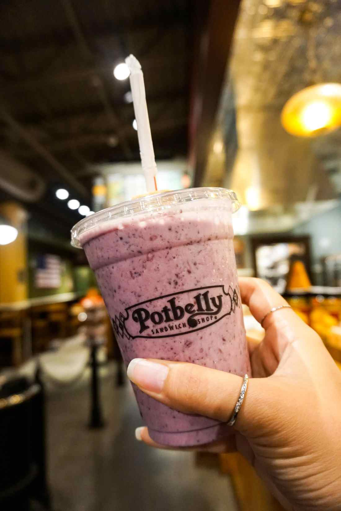 """Potbelly Mixed Berry Smoothie. July 27th is Free Shake Friday at Potbelly, claim your free shake or smoothie with any purchase by just saying """"it's free shake friday""""."""