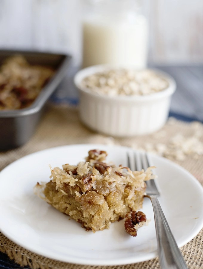 Oatmeal cake with coconut pecan frosting is a classic snack cake that has been around for many years. try this slice of Oatmeal Cake with Pecan Frosting at your next get together.