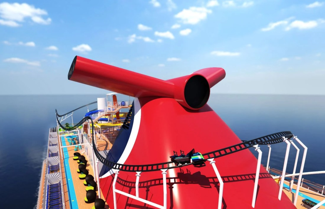 Carnival Cruise Line Bolt Roller Coaster Closeup. Carnival Cruise Line's Mardi Gras™ will feature the first-ever roller coaster at sea when it debuts in 2020. Read more about this announcement on my blog.