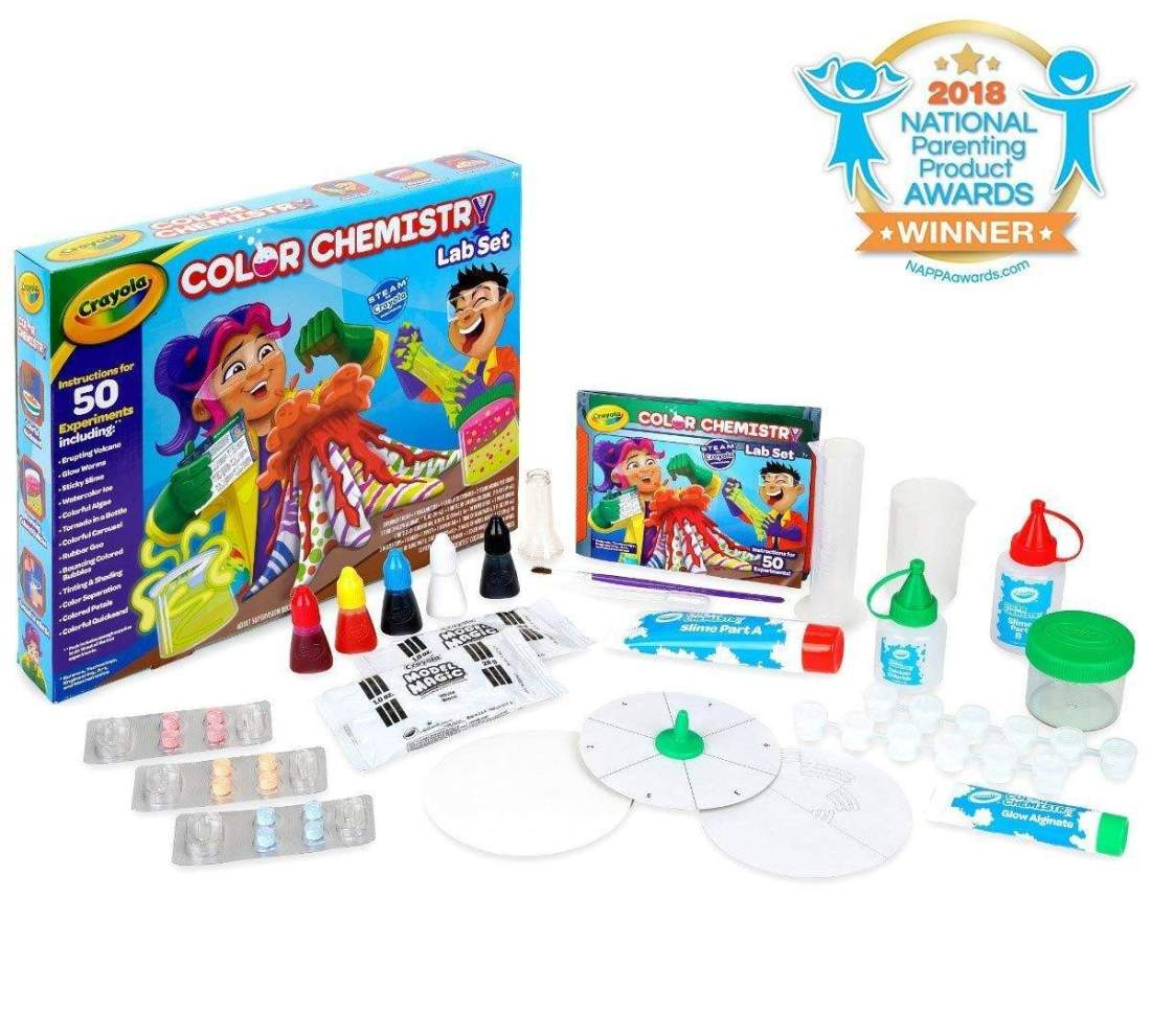 Calling all color-ologists, chroma-chemists and would-be color scientists of all kinds! The Crayola® Color Chemistry Set for kids is jam-packed with playful experiments exploring your favorite subject—color!