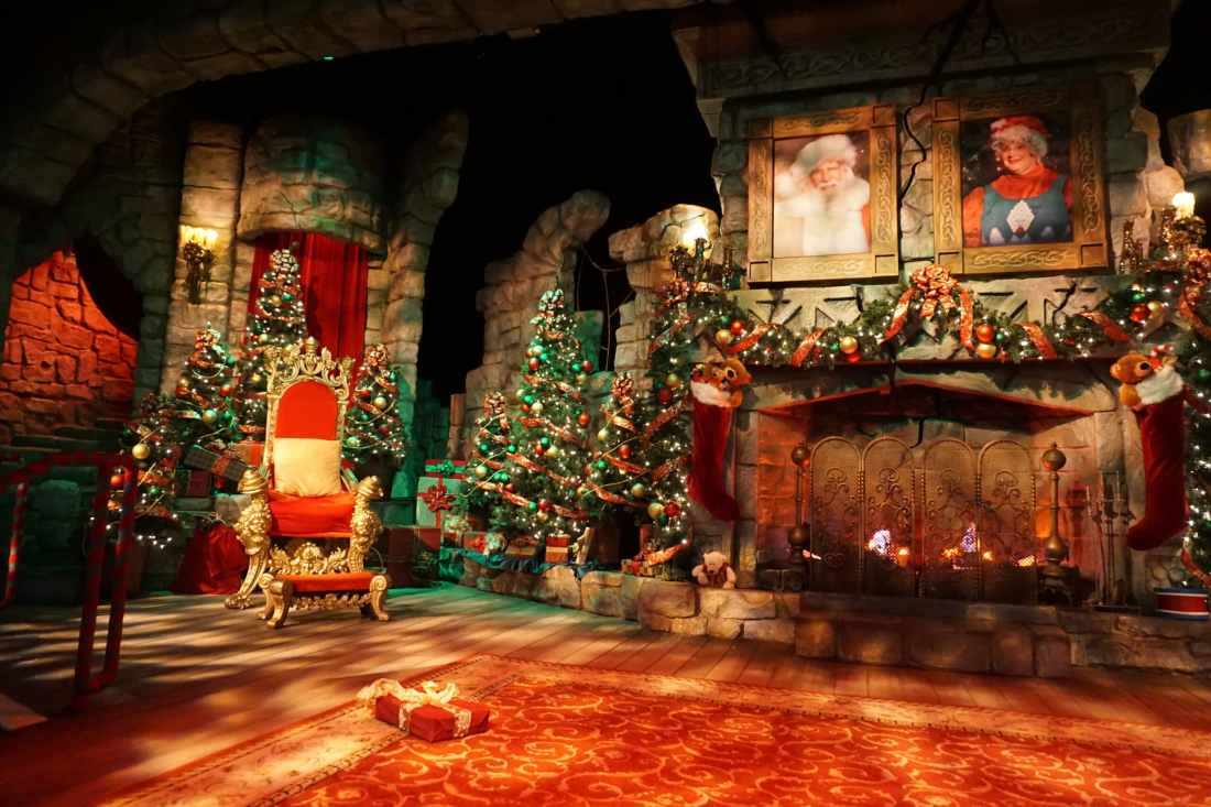 Santas Fireside Feast Santas Chair and Fireplace. Gather around as Santa recounts a classic Christmas story while elves prepare a scrumptious all-you-care-to-eat meal and Mrs. Claus dazzles the dining room with holiday cheer. Read more about this wonderful feast at Busch Gardens Christmas Town in Williamsburg, Virginia.