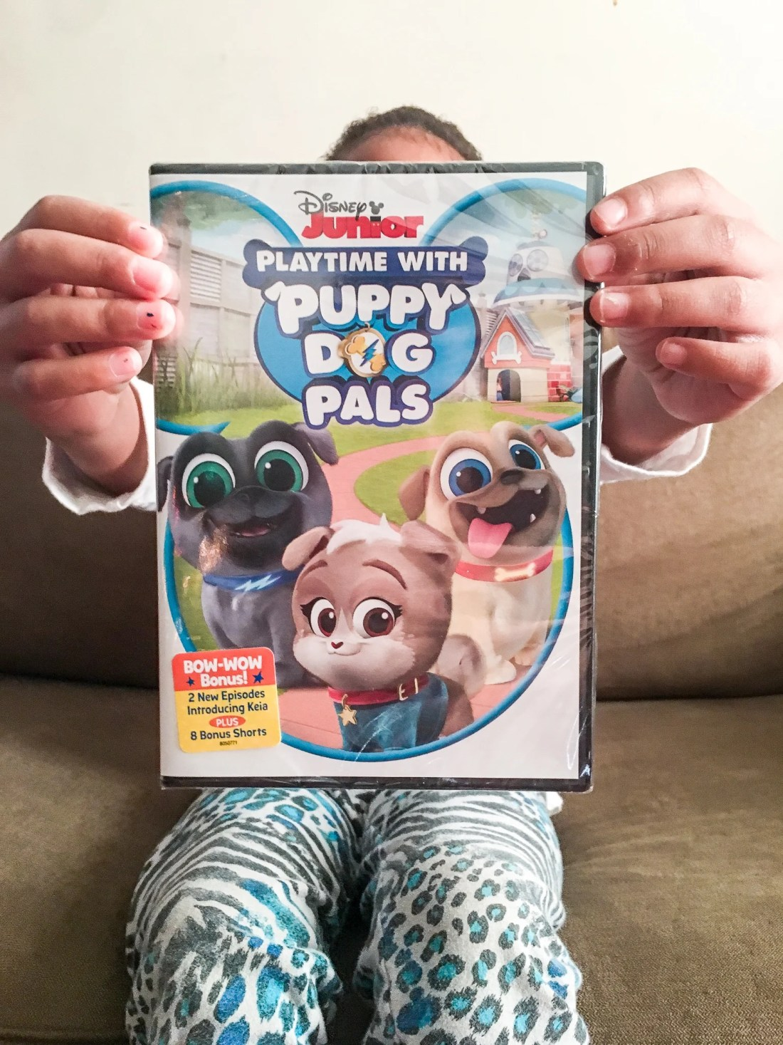 DIsney Junior Playtime With Puppy Dog Plays DVD Girl Holding. Adorable puppy brothers Bingo and Rolly are back! Join the doggy duo on amazing missions in their newest Playtime with Puppy Dog Pals DVD.