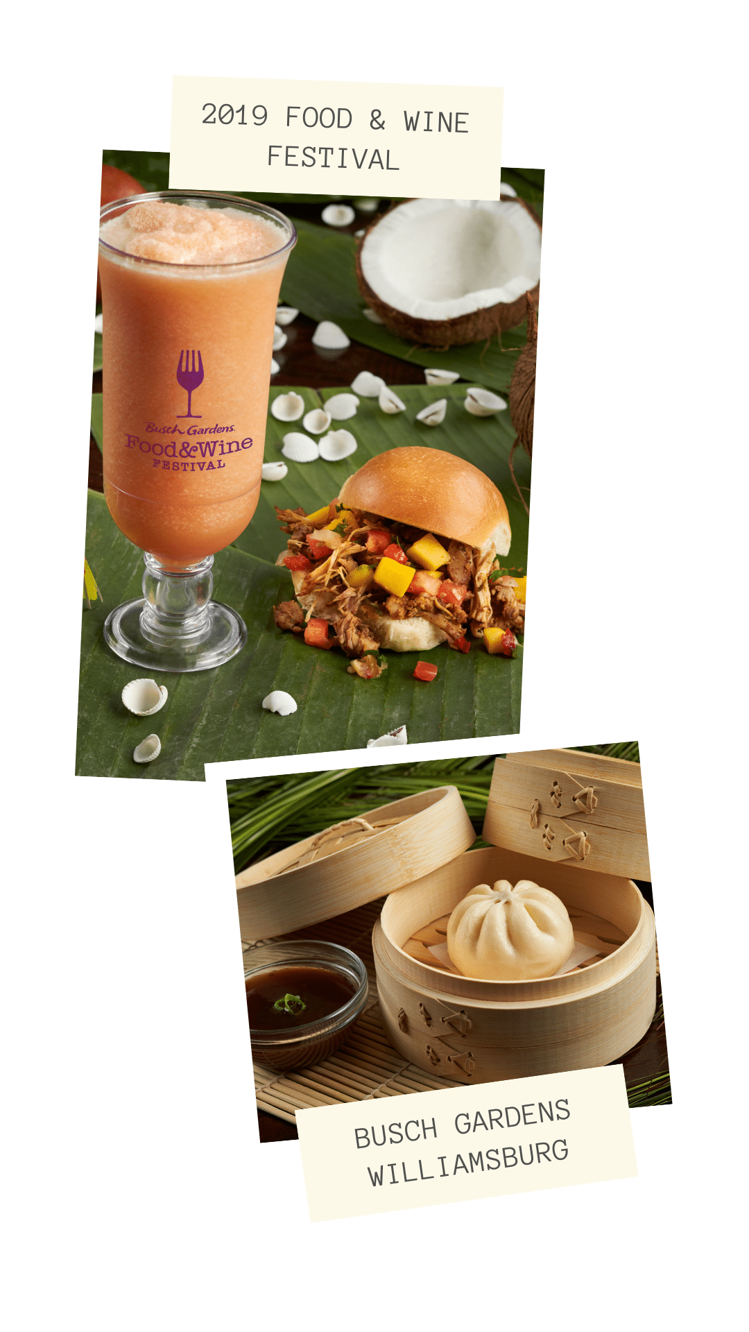 2019 Food & Wine Festival. Busch Gardens 7th Annual Food & Wine Festival kicks off May 17th. Every Friday, Saturday and Sunday from May 17-June 30 guests can enjoy food from and drinks from around the world.