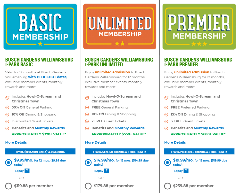 Busch Gardens 1 Park Memberships. Busch Gardens Annual Pass Holders are using a new Membership Program. They offer affordable membership's that the whole family can enjoy.